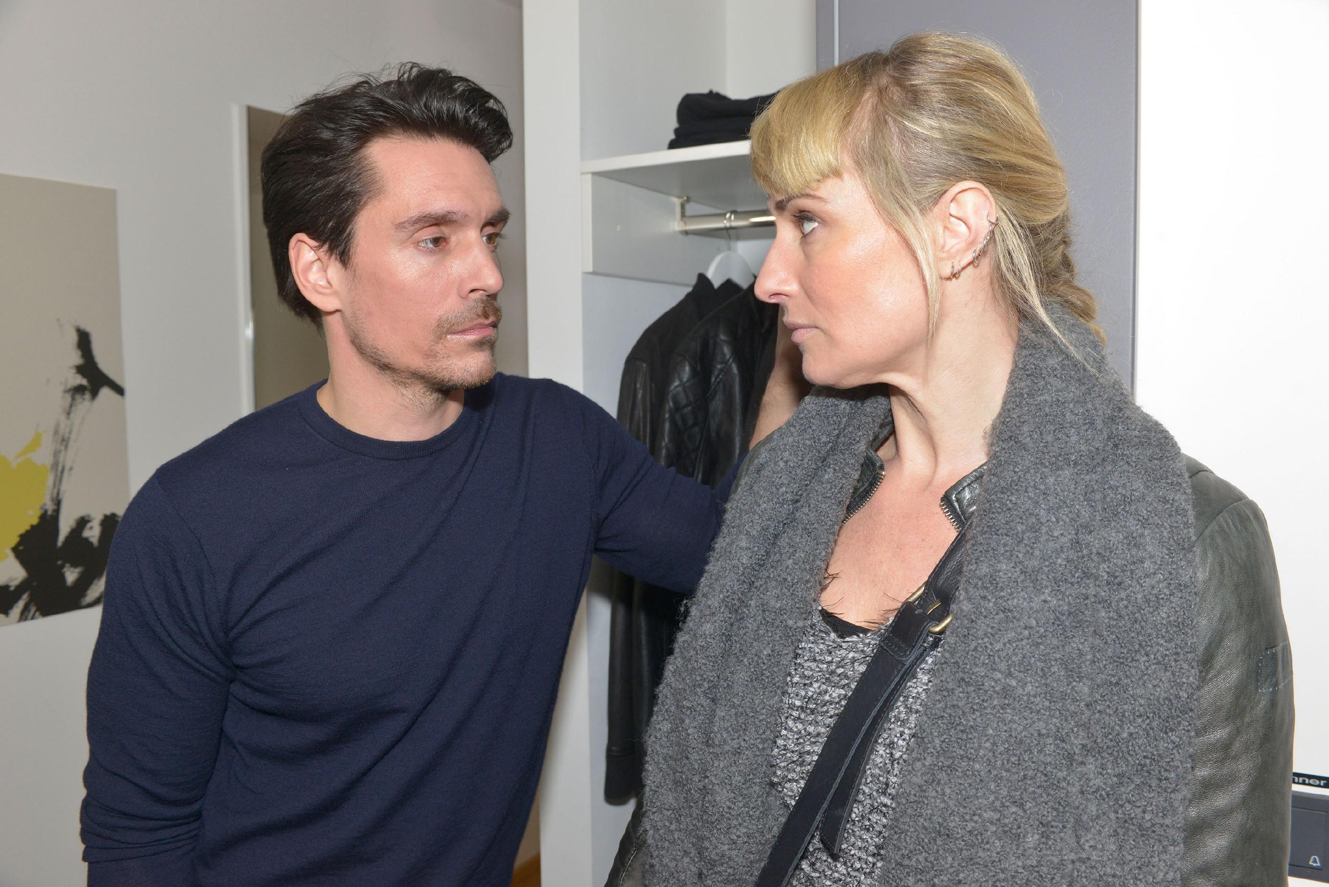 Als David (Philipp Christopher) erfährt, dass Maren (Eva Mona Rodekirchen) Frederic erschlagen hat, droht sein Plan zu scheitern. (Quelle: RTL / Rolf Baumgartner)
