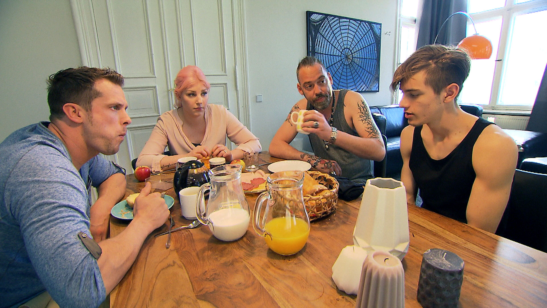 v.l.n.r.: Basti, Paula, Theo, Malte (Quelle: RTL 2)