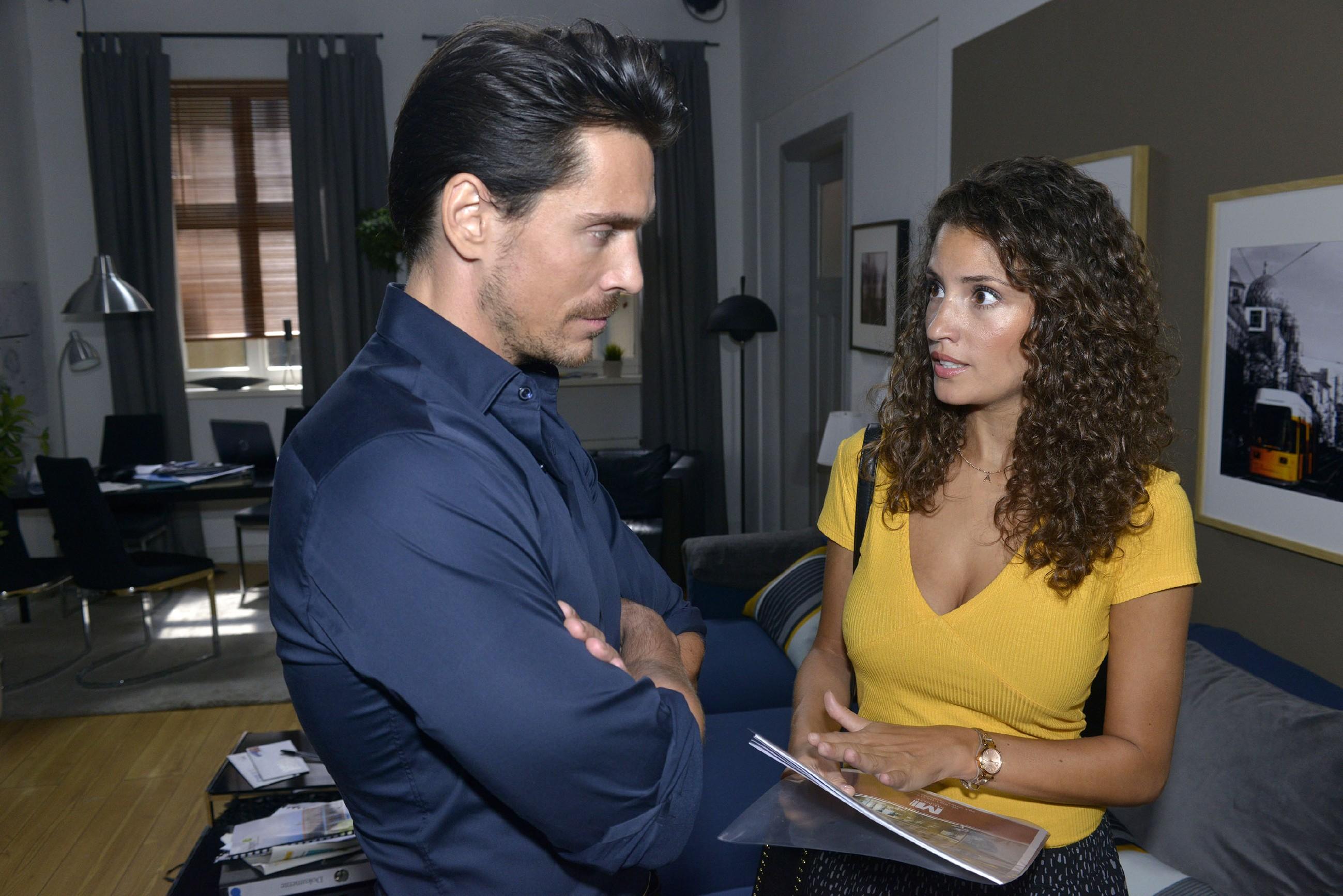 Als David (Philipp Christopher) sie um einen heiklen Gefallen bittet, muss sich Ayla (Nadine Menz) fragen, ob ihr Vertrauen in ihn groß genug ist... (Quelle: RTL / Rolf Baumgartner)