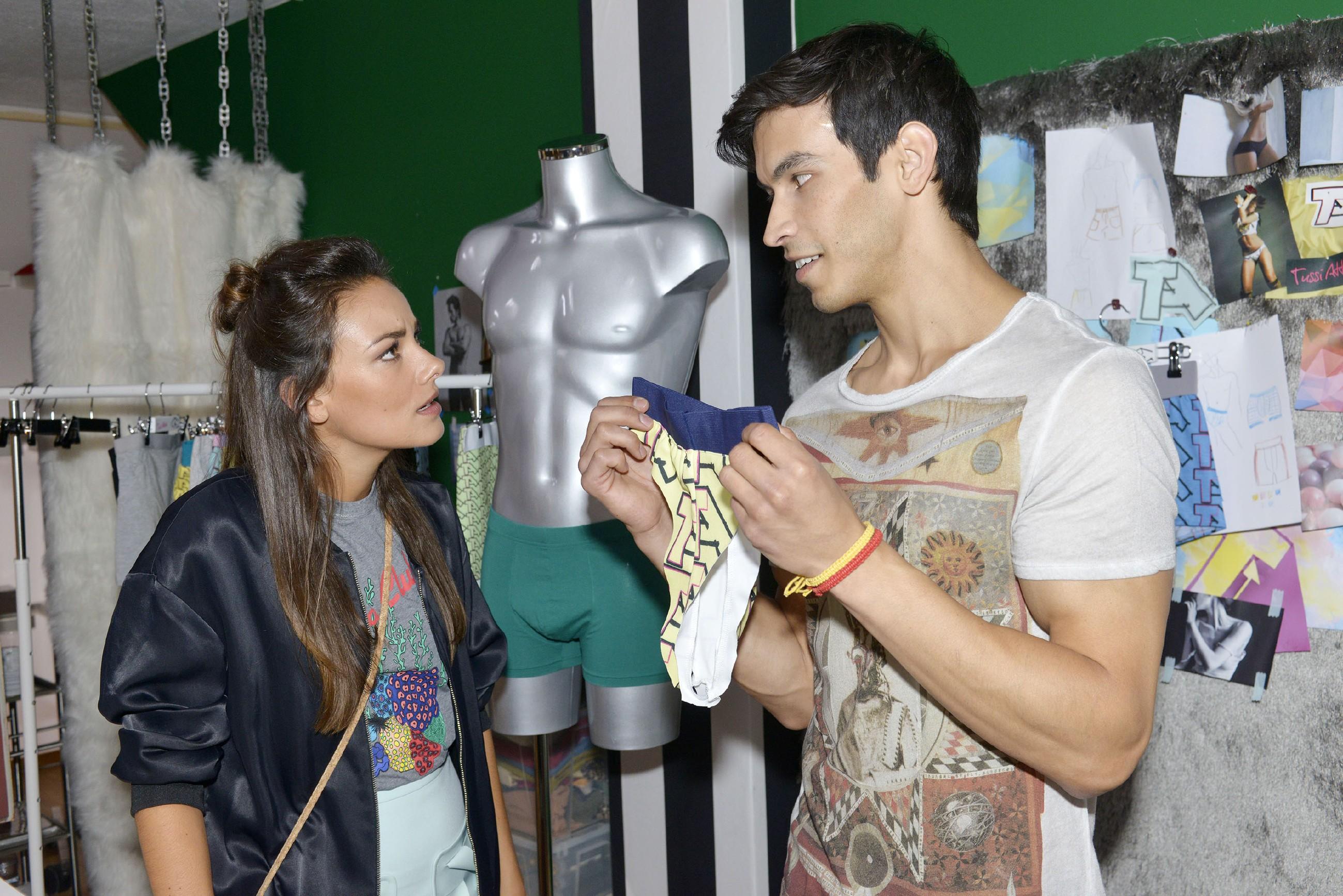 Bei Jasmin (Janina Uhse) brennt eine Sicherung durch, als Milo (Iskander Madjikov) ungefragt Hand an ihre Designs legt... (Quelle: RTL / Rolf Baumgartner)