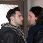 Als Easy (Lars Steinhöfel, l.) nach seinem Streit mit Fiona auf Rolf (Stefan Franz) trifft, geraten die beiden Männer aneinander... (Quelle: RTL / Stefan Behrens)