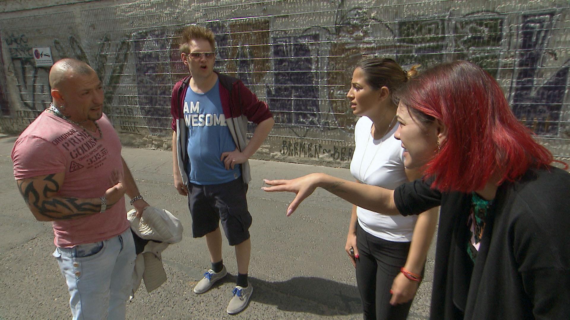 v.l.n.r.: Fabrizio, Ole, Alessia, Jessica (Quelle: RTL 2)