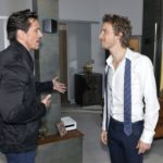 David (Philipp Christopher, l.) stellt Felix (Thaddäus Meilinger) wegen des Unfallhergangs zur Rede: War Felix etwa der Unfallfahrer? (Quelle: RTL / Rolf Baumgartner)