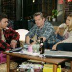 Ronny (Bela Klentze, l.) zeigt sich Ingo (André Dietz) und Diana (Tanja Szewczenko) gegenüber entschlossen, den Kampf um Michelles Herz nicht aufzugeben. (Quelle: RTL / Kai Schulz)